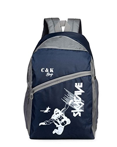 Chris & Kate Polyester 26 Ltr Navy Blue-White School Backpacks