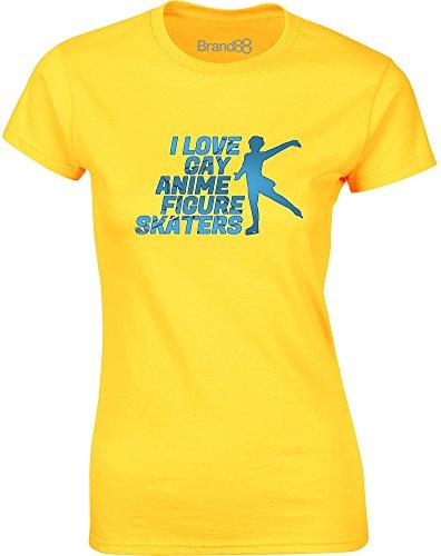 Brand88 - I Love Gay Anime Figure Skaters, Mesdames T-shirt imprimé Daisy jaune