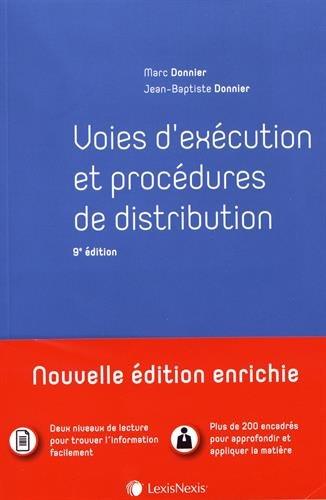 Voies d'exécution et procédures de distribution par Jean-Baptiste Donnier