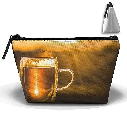 Toiletry Pouch Makeup Bag Teacup Drink Beer Trapezoidal Portable Cosmetic Storage Travel Bag -