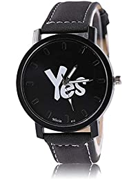 Shocknshop New Arrival Black YES Stylish Leather Strap Watch For Men/Boys & Women/Girls (W92) (Black)