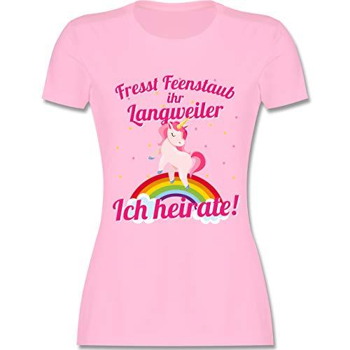 JGA Junggesellinnenabschied - Fresst Feenstaub Ihr Langweiler Ich heirate! - XXL - Rosa - L191 - Damen Tshirt und Frauen T-Shirt (Rosa Einhorn Kostüm)