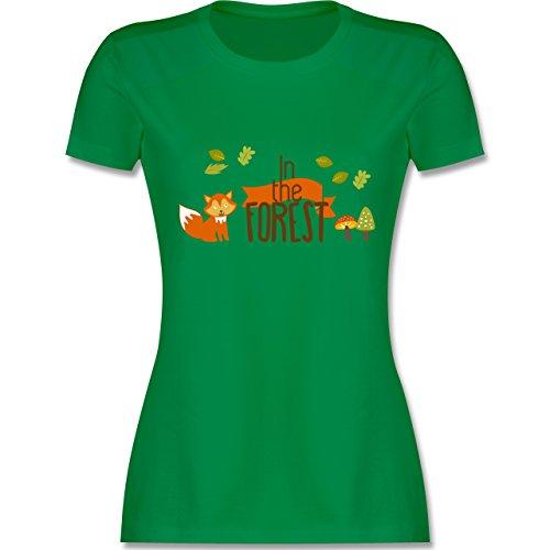 Wildnis - In the Forest Wald Fuchs - tailliertes Premium T-Shirt mit Rundhalsausschnitt für Damen Grün
