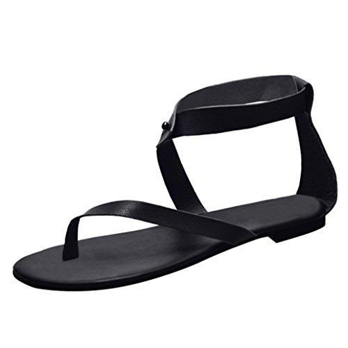 Damen Sommer Flach Sandalen DOLDOA Frauen Sandals Sommerschuhe Strand Schuhe Zehentrenner Sandaletten Pantoffel Römersandalen Freizeitschuhe Zehensandalen (EU:40, Schwarz - 5) (Sandalen Leder Crew)