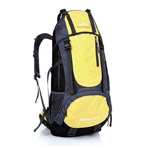Minetom 55L Backpack Bag Impermeabile Trekking Escursionismo Montagna Alpinismo Zaino Ciclismo Campeggio Viaggio Pack Giallo One Size(34*18*66 Cm)
