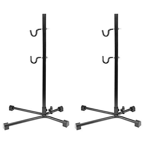 Preisvergleich Produktbild WELLGRO® 2X Fahrradständer - Stahl,  Schwarz,  sicherer Stand,  Haken mit Kunststoffummantelung