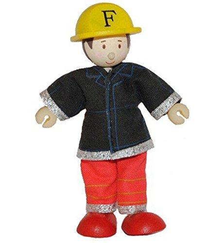 Preisvergleich Produktbild Biegepuppe Holz - Feuerwehrman rot - Budkins für Puppenhaus und Puppenstube Holzpuppen Feuerwehr