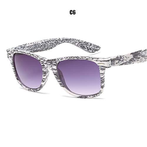 DAIYSNAFDN Woodgrain Pc Frame Sonnenbrille Square Retro Sonnenbrille Unisex Erwachsene Sonnenbrille C6