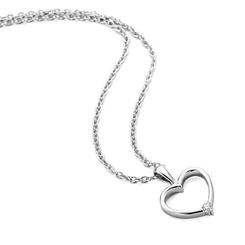 Orovi Collana - Pendente - Ciondolo Donna Cuore con Catena in Oro Bianco con Diamante Taglio Brillante Oro 9 Kt / 375 Catenina Cm 45