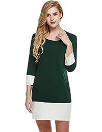 f633339baa909b Trudge Damen Color Block Patchwork 3/4 Ärmel Etuikleid Casual Kleid  Shirtkleid mit Taschen Knielang