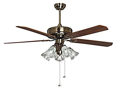 PURline toureillo Ceiling Fan with LED Light, 5Reversible Blades, Diameter 152cm, 70W, Mahogany and