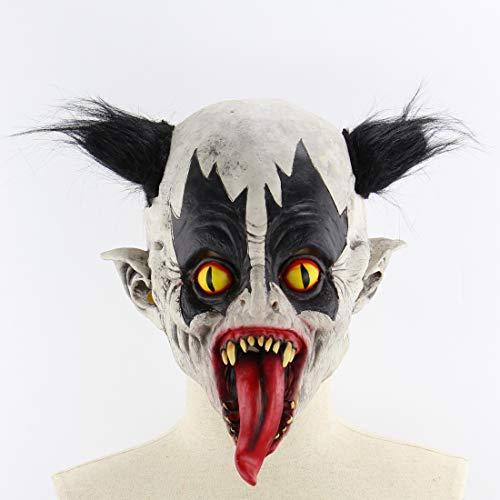 Halloween Latex Maske Beängstigend Schwarze Haare Fledermaus Clown Mit Langer Zunge 3D Neuheit Gruselig Teufel Kostüm Partei Cosplay Requisiten Rollenspiel Spielzeug