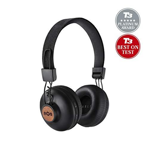 House of Marley Positive Vibration 2 BT, Kabellose Bluetooth On-Ear Kopfhörer, Geräuschisolierung, Premium Sound, Mikrofon, Laden via USB, 10 Std. Akkulaufzeit, nachhaltige Materialien, sig black