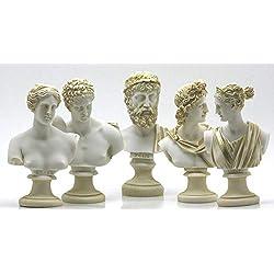 greekartshop Göttlicher Büstenkopf Zeus Artemis Aphrodite Hermes Apollo Griechische römische Statue