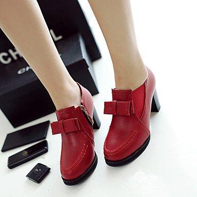 Talloni delle donne Primavera Comfort microfibra casual tacco grosso Bowknot Rosso Beige Nero US5.5 / EU36 / UK3.5 / CN35