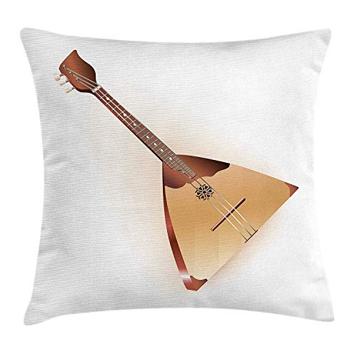DHNKW Balalaika Throw Pillow Cushion Cover, Russian Instrument with Characteristic Triangular Body and Three Strings, Decorative Square Accent Pillow Case, 20 X 20 inches, Redwood Sand Brown