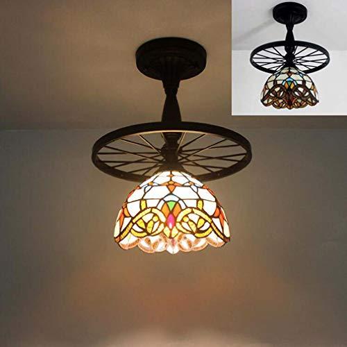 Pendelleuchte Tiffany-Stil Kronleuchter Beleuchtung, 8-Zoll-Glasmalerei Schatten kreative Rad leuchtet antike Decke hängende Leuchten für Esszimmer Wohnzimmer,G
