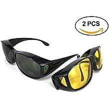 Gafas de sol superpuestas | Más gafas de sol - Más de gafas de sol - gafas de conducción y gafas de visión nocturna | Conjunto de 2 piezas | Para conducir DÍA y NOCHE | Protección anti UV400 | Cubrir regularmente los anteojos y las gafas graduadas | Wraparound Fit sobre los cristales | De color negro