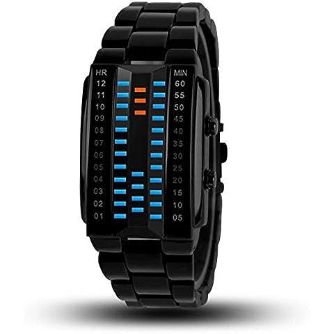 OUMOSI 3d specular Binary LED orologio elettronico impermeabile orologio per gli amanti del, Silver, small
