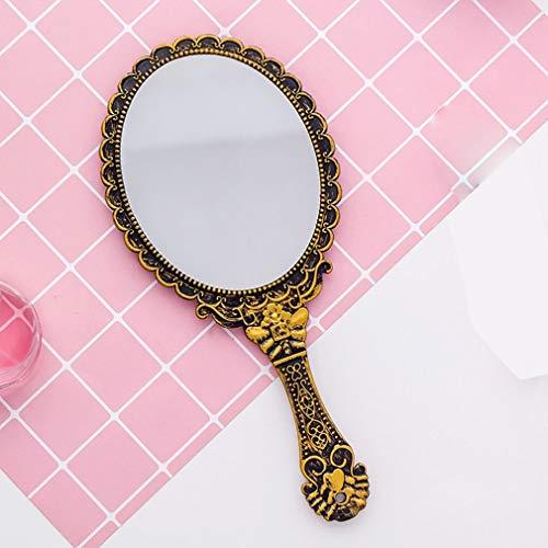 2 STÜCKE Vintage Haltegriff Kosmetikspiegel Pink Floral Oval Runde Kosmetische Handspiegel Mit Griff Für Damen Schönheit Kommode (Color : Bronze) -