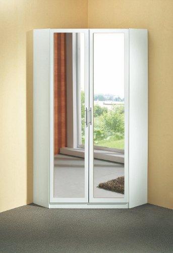 Wimex Eckkleiderschrank 145543, Weiß mit Spiegel