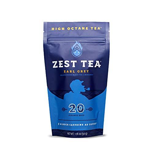 Zest Tea Premium Energy Tee mit viel Koffein - natürlicher, gesunder und koffeinhaltiger Energie Tee als perfekter Kaffeeersatz - 150 mg Koffein pro Portion - Earl Grey Schwarzer Tee - 20 Teebeutel