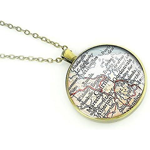 1954 de la vendimia collar de bronce de Australia Cairns mapamundi vintage colgante de plata mejor regalo de
