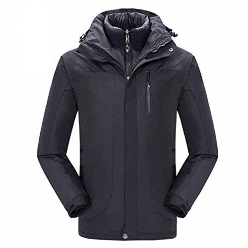 CIKRILAN Herren 3 in 1 Wasserdicht Atmungsaktiv Jacke Outdoor Sport Ski Wandern Mantel mit Baumwolle gepolsterte Jacke (X-Large, Schwarz) (Ski 179cm)