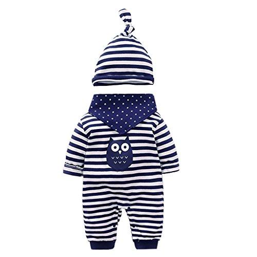 Neugeborenes Baby 3 Pcs Strampler Spielanzug Baumwolle Langarm Baby Outfits Unisex Kleinkinder Streifen Jumpsuits mit Hut & Geifer-Lätzchen
