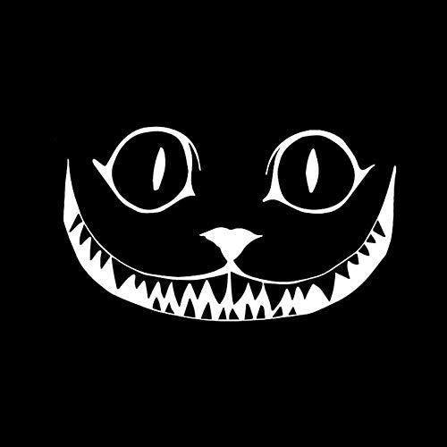 LXLZN Auto Aufkleber Vinyl Aufkleber Zubehör Tier Halloween Sport Selbstklebend 2 Stücke Schwarz/Silber Sport Cat Growl Smile Face Halloween Horror Sticker 15.2 * 8.9 cm -