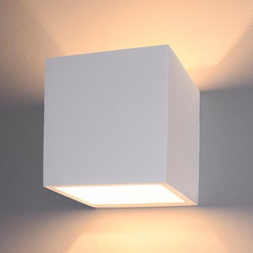 LED Wandleuchte Up and Down eckig aus Gips überstreichbar warmweiß, Innen Wandlampe mit LED G9 2W warm weiß 2700K