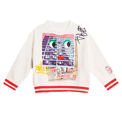 BURBERRY Baby Sweatshirt aus Baumwolle mit Aufdruck Farbe Elfenbein (8001762), Weiß 80