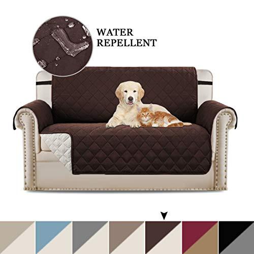 Sofa Cover Sofa Schutzhülle Sofa Protector für Hunde Haustiere, wattierte Quick Drape Reversible Möbelhülle, mit breiteren Trägern im Raum bleiben, (Zweisitzer/Love Seat - Braun/Beige) -