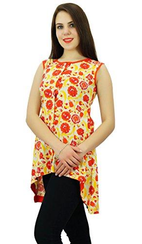 Phagun Femmes Floral Designer Coton Kurti Kurta Ethnique Décontracté Beige et Orange