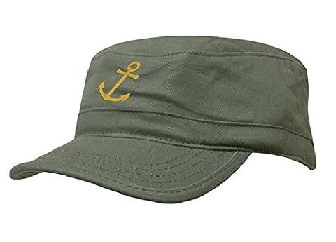 Marine Casquette Hat Ancre Homme Femme Chasse Cadet Bonnet Armée DOMAINE MILITAIRE Baseball Cap Pirate Captain MFAZ Morefaz Ltd (Green Gold)