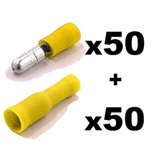 Shentian Kabelschuhe x 100 - Rundstecker Gelb x50 / Rundsteckhülsen Gelb x50 - Quetschverbinder, Isolierte - Für Kfz, Elektronik und Hobby