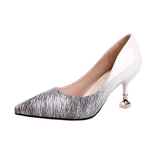 Qimaoo Damen Pumps 7cm High Heels Elegant Abendschuhe Sandalen Sommer Schuhe mit Absatz, Gr.- 36 EU, Weiss-7cm Pumps