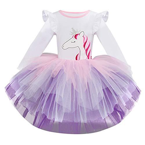 Kinder Kinder Mädchen Kleider, Langärmelige Cartoon-Tier Pony Print Gaze Prinzessin Mesh Tutu Rock Abend Party Tägliche Kleidung (2-6 T) Ostern (Weiß,130) - 5 Tier-mesh
