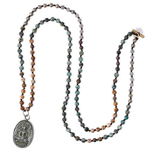 KELITCH Collar con Colgante de Buda para Yoga, con Forma de Y, con Cuentas de Piedra Natural, Pulseras de declaración Mala Jewelry