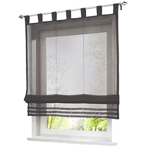 ESLIR Raffrollo mit Schlaufen Raffgardinen Gardinen Küche Transparent Schlaufenrollo Vorhänge...