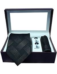 Riyasat - Self Design Black Color Micro Fibre Men,s Tie, Cufflink and Pocket Square Gift Set .(S_ 129)