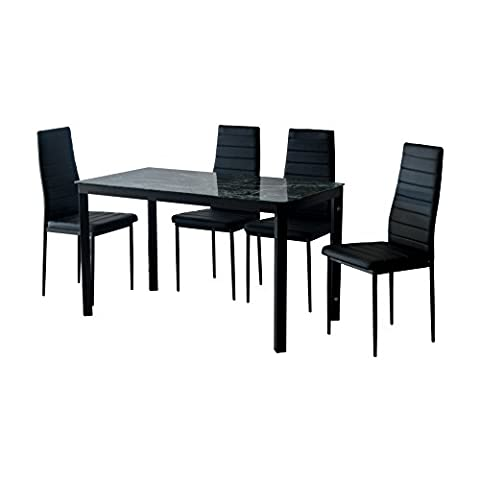 EBS® Emerald Glass Dining Table and 4 Chairs Dining Room Furniture Modern Design Set - Faux Marble and