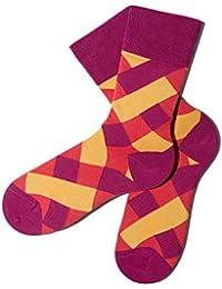 Bunte Socken - Karomuster - Boysenberry - GOTS zertifiziert - aus feinster Bio Baumwolle - Komfortbündchen