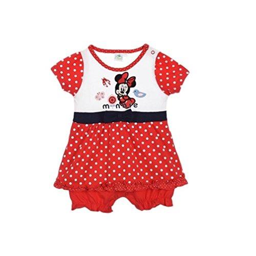Minnie Mouse Kleid Kollektion 2017 Strampelanzug 56 62 68 74 80 86 Stramplerkleid Kurz Einteiler Maus Disney Rot (80 - 86, (Baby Kleid Für Minnie Maus)
