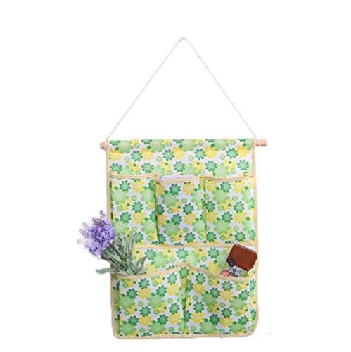 1X Toruiwa Aufbewahrungstasche Hänge Organizer Blumen Hängenden Tasche Wand Häng Aufbewahrungstasche 6-Tasche (Grün) (Blumen-wand-tasche)