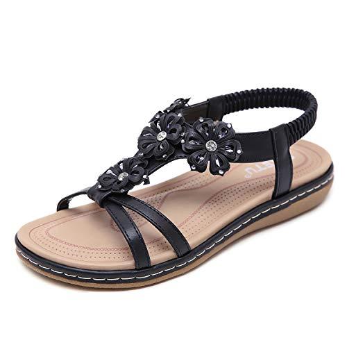 Sandali delle Donne, Sandali Piatti delle Donne di Estate per Le Donne Sandali Casuali di Modo Scarpe da Spiaggia Taglia EU 42 Nero