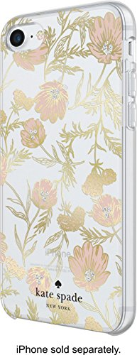 kate spade New York Handy Fall für iPhone 8/7/6/6S - Multi Blossom Pink/Gold mit Gems