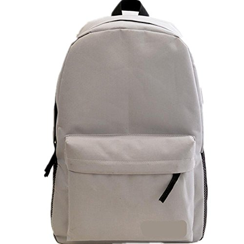 Xiuxiandianju 20-35L Rucksack single Männer und Frauen Studenten in einem festen Farbe Reißverschluss Taschen Silver