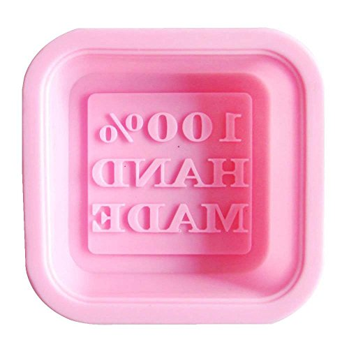 Savon moule - TOOGOO(R) Carre Moule a Gateau/Moule de Savon en Silicone avec le Motif de 100% Hand Made, Couleur Aleatoire