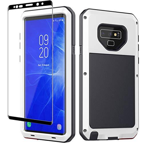 Galaxy Note 9 Hülle, Note 9, strapazierfähig, stoßfest, Hybrid-Metall-Silikon, stoßfest, robust, gehärtetes Glas, Displayschutzfolie [volle Display-Abdeckung] Samsung Galaxy Note 9, weiß -